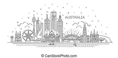 austrália, skyline, cityscape, illustration., famosos, vetorial, arquitetura, marcos, linear, linha