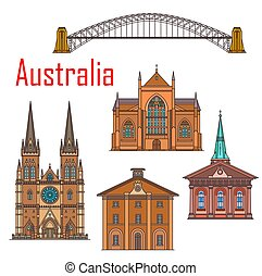 austrália, sydney, edifícios, marco, arquitetura