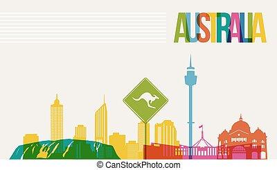 austrália, viaje destino, skyline, fundo, marcos