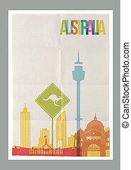 austrália, vindima, viagem, skyline, cartaz, marcos