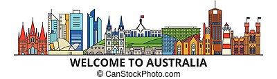 australiano, marcos, austrália, vetorial, silueta, banner., magra, urbano, viagem, linha, apartamento, cityscape, ícones, horizonte cidade, esboço, illustrations.