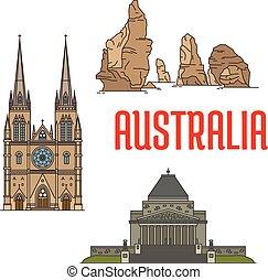 australiano, marcos, edifícios, ícones