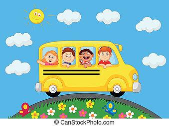 autocarro, crianças escola, carreta, feliz