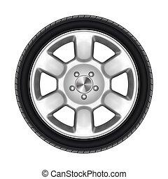 automático, isolado, ou, pretas, roda carro, pneu, pneumático