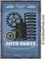 automático, loja, partes, restauração, veículo