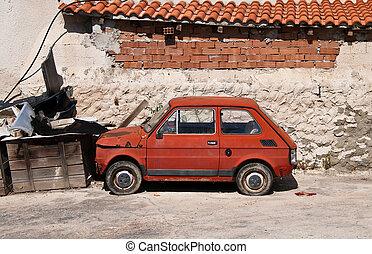 automóvel, antigas, europeu, desertado