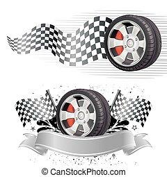 automóvel, elemento, raça