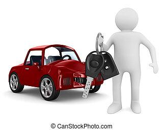 automóvel, imagem, isolado, keys., homem, 3d