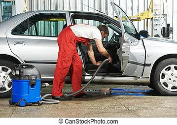 automóvel, limpo, limpeza, serviço, vácuo