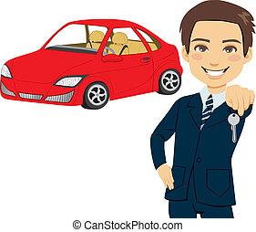 automóvel, vendedor, jovem