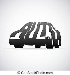 automóvel, vetorial, desenho, modelo, logotipo