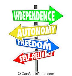 autonomia, liberdade, setas, sinal, estrada, self-reliance, independência