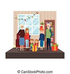 avós, crianças, livingroom