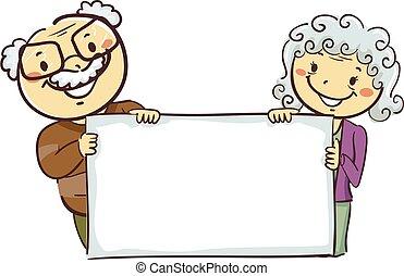 avós, figuras, tábua, segurando, em branco, vara
