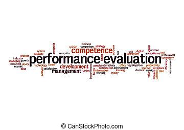avaliação desempenho, palavra, conceito, nuvem
