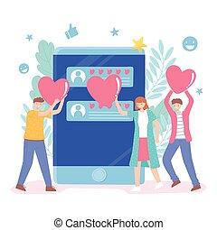 avaliação, semelhante, mídia, pessoas, corações, realimentação, social