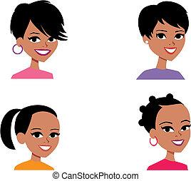 avatar, mulheres, caricatura, ilustração retrato