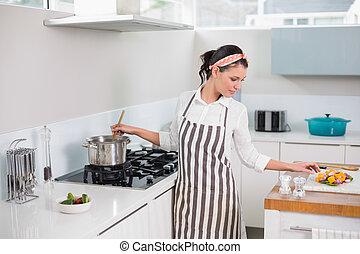 avental, mulher, cozinhar, bonito, calmo