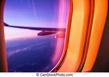 avião, amanhecer, porthole