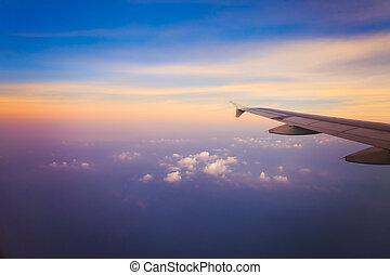 avião, céu, amanhecer