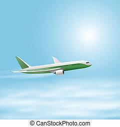 avião, céu, ilustração