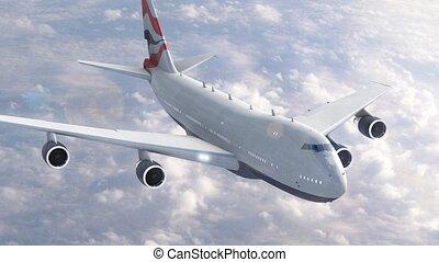 avião, nuvens, sobre