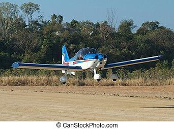 avião pequeno, aterragem