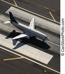 avião, runway.