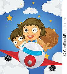 avião, três, crianças