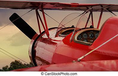 avião, vermelho