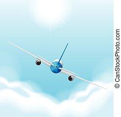 avião, voando, céu, costas