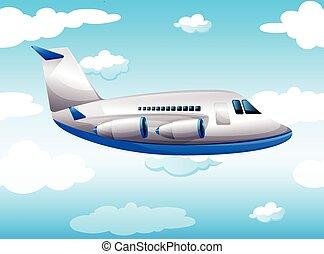 avião, voando, céu