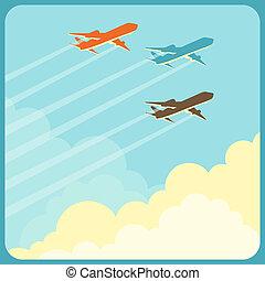 aviões, sobre, voando, céu, ilustração, clouds.