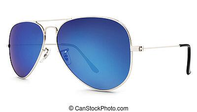 aviador, fundo, isolado, óculos de sol, branca