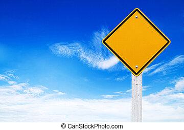aviso, (clipping, sinais, fundo, em branco, céu, estrada, amarela