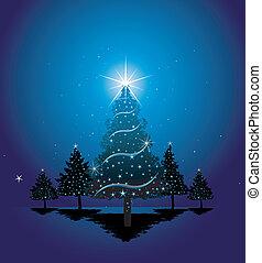azul, árvore, natal, fundo
