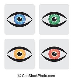 azul, íris, olho, human, ícones, amarela, verde, circuito, vermelho