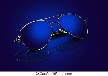 azul, óculos de sol, aviador, reflexões