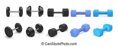 azul, 3d, branca, fitness., objetos, isolado, realístico, dumbbells, dumbbell, experiência., pretas, ou, jogo, vetorial, ginásio