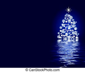 azul, abstratos, árvore, natal, fundo