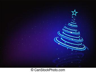 azul, abstratos, árvore, natal