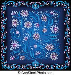 azul, abstratos, ornamento, experiência escura, floral
