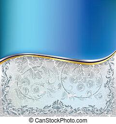 azul, abstratos, ornamento, fundo, floral, rachado, branca