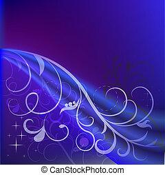 azul, abstratos, space., experiência escura, floral, cópia