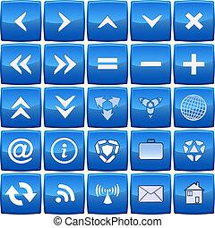 azul, abstratos, vetorial, jogo, ícone