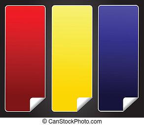 azul, adesivo, amarela, tag, em branco, vermelho