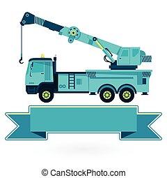azul, agradável, grande, gancho, works., maquinaria construção, guindaste, chão, braço, white.