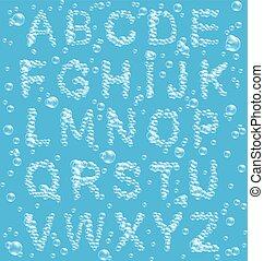 azul, alfabeto, bolhas, ar