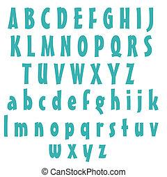 azul, alfabeto, letras