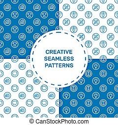 azul, apartamento, jogo, ícones, padrão, seamless, ilustração, vetorial, linha, style.